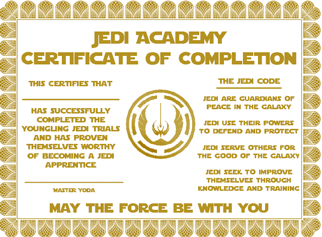 Jedi training certificate template gallery certificate for Star wars jedi certificate template free