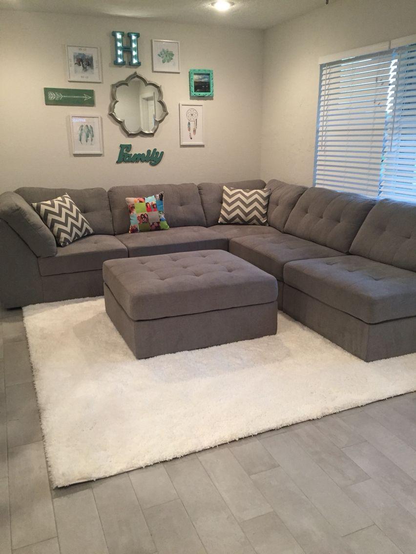 Gray Sectional Shag Rug Family Wall Collage Living Room Sofa