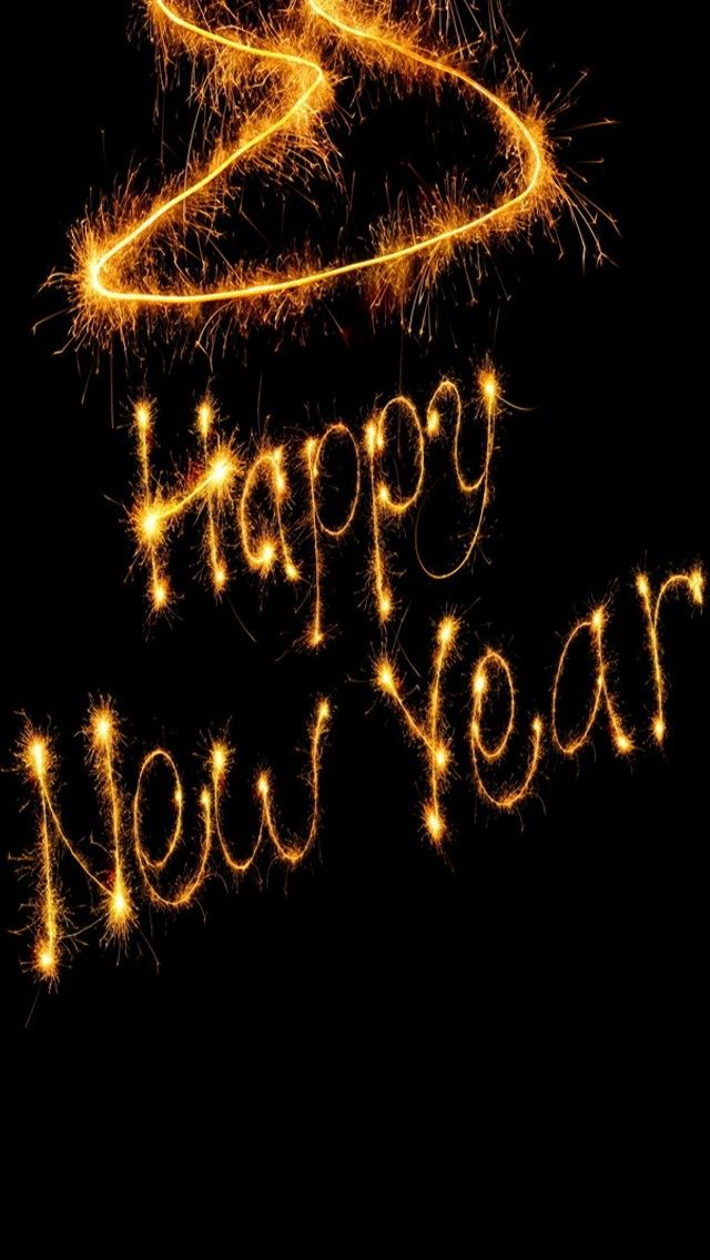 iphone wallpapers background happy new year in gold sparklers