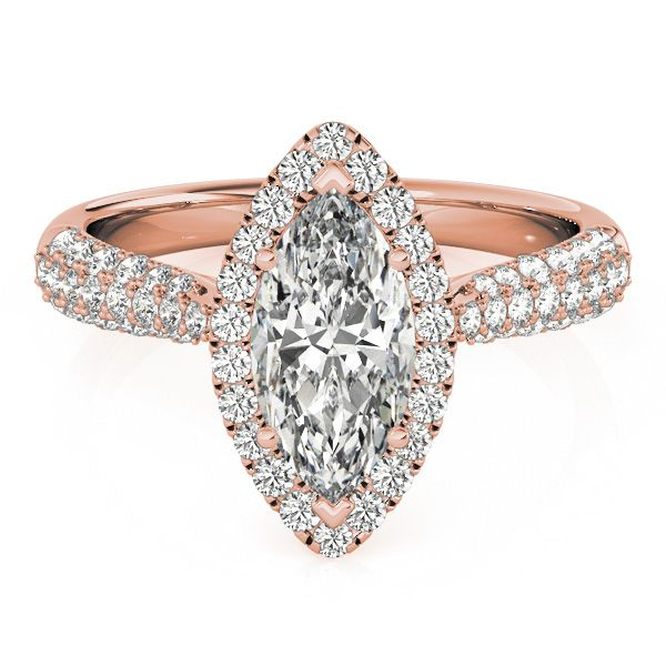 Engagement Ring -Etoil Style Marquise Diamond Halo Engagement Ring in Rose Gold-ES1550RGMQ