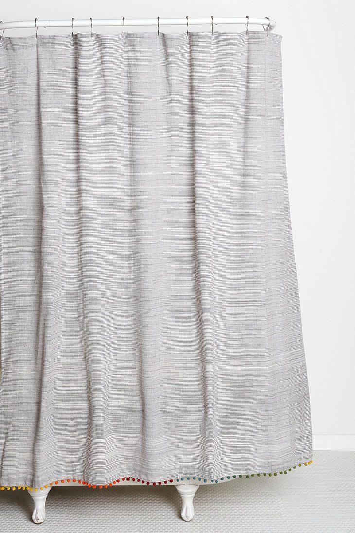 Magical thinking yarndye pompom shower curtain master bath