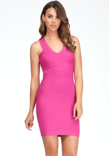 44ac38a5664 Bebe Double V-neck Bandage Dress Sweater Dresses Very Berry-l ...