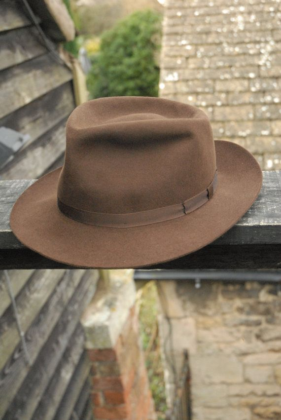 433de4aac Vintage Brown Fur Felt Herbert Johnson Casual Outdoors Fedora Trilby ...