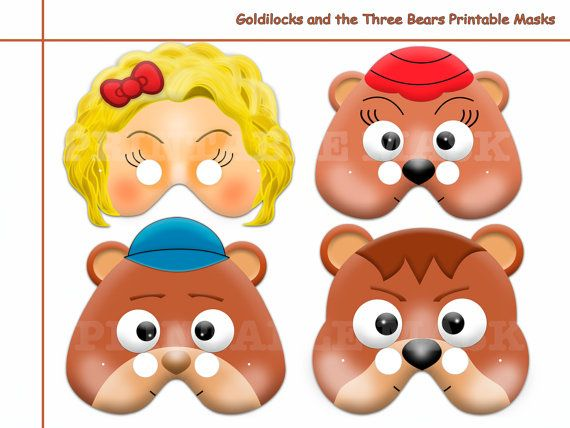 Unique Goldilocks and the Three Bears Printable Masks, birthday ...