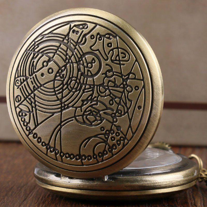 5c462e34d7c Retro Design Quartz Doctor Who Pocket Watch Long Chain Bronze Silver Xmas  Gift