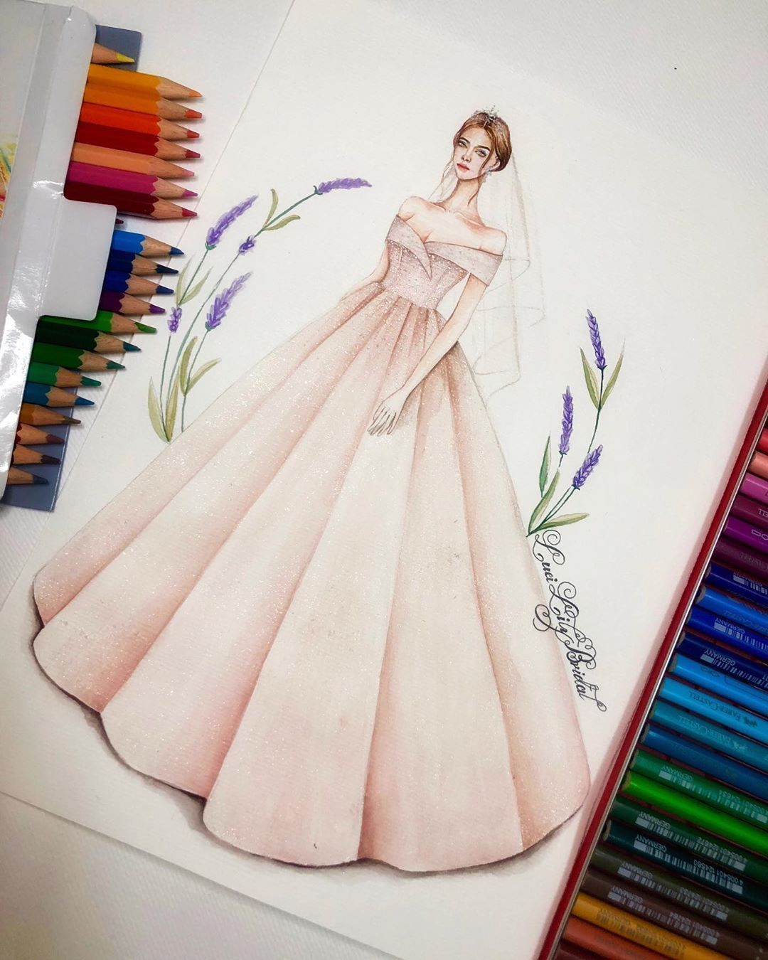 On Instagram Drawing Bridal Dress Watercolor Pe Fashion Illustration Sketches Dresses Dress Design Drawing Fashion Drawing Dresses