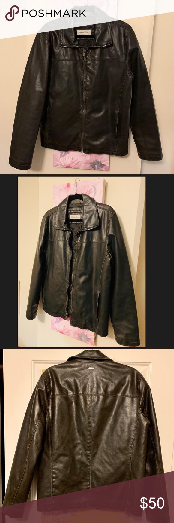 Dark Brown Men's Calvin Klein Faux Leather Jacket Perfect