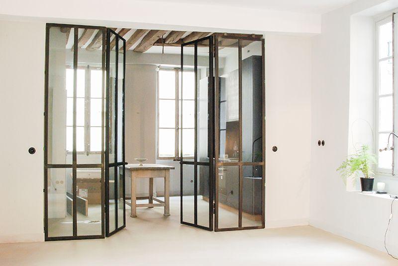 Verri re en m tal double portes covered patio pinterest - Porte verriere interieure ...