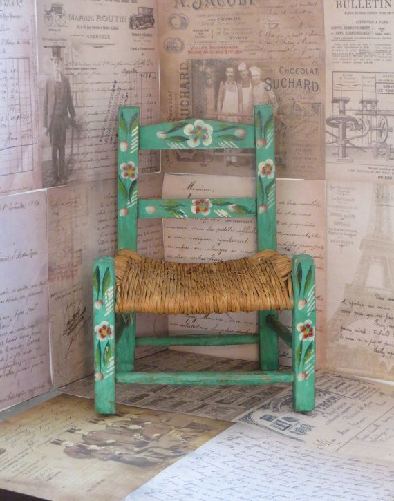 Vintage Handpainted Green Mexican Child's Chair, Vintage Chair, Mexican Folk Art Chair, Nursery Decor on Etsy, $40.00