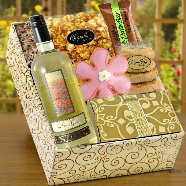 Capalbo's Gift Baskets Pinot Grigio White Wine and Gourmet Gift Box
