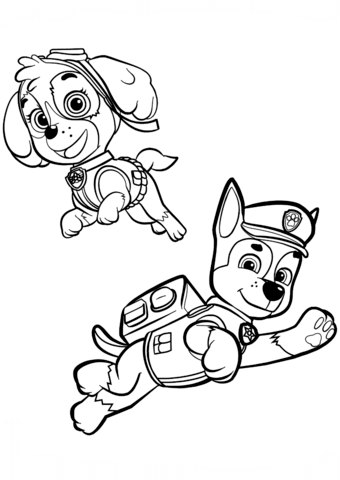 Chase And Skye Coloring Page Paw Patrol Coloring Pages Paw Patrol Coloring Skye Paw Patrol