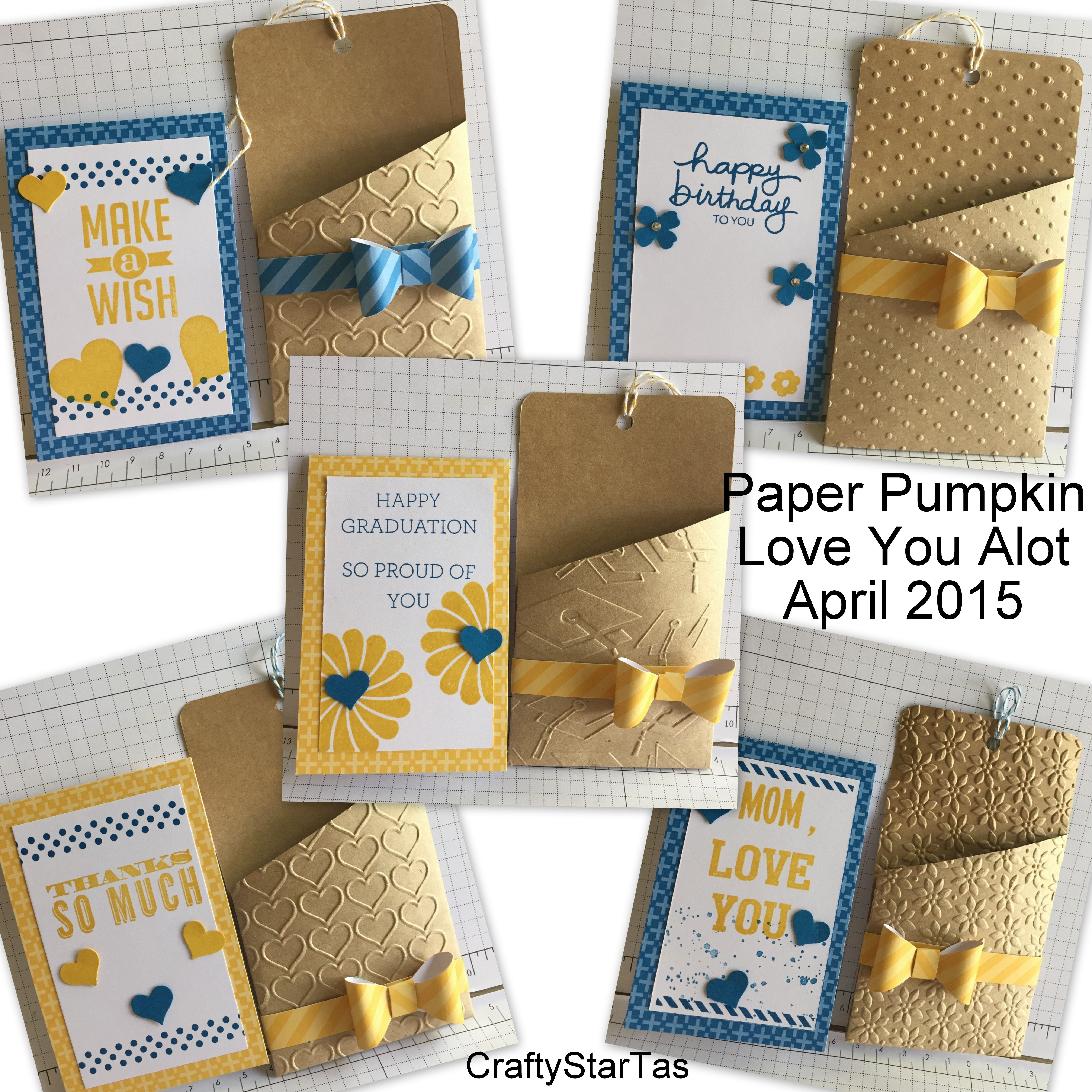 """Paper Pumpkin monthly subscription kit! April 2015 """"Love You Alot"""". Alternate card ideas, used a couple punches, and other stamp sets. The embossing folders really make these adorable cards pop!"""