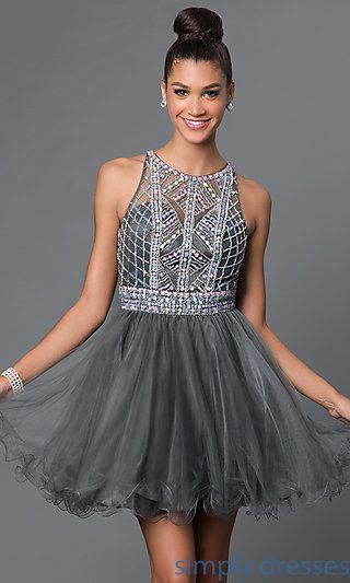 FB-GS1311 - Short Backless Jewel-Embellished Babydoll Dress