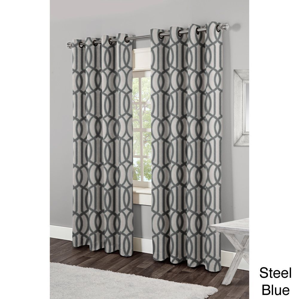 Curtain pair overstock shopping great deals on lights out curtains - Ati Home Trincity Grommet Top 84 Inch Curtain Panel Pair By Ati Home