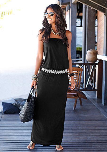 d2ea1e104ca Bandeau Print Maxi Dress from LASCANA for a honeymoon beach dinner ...