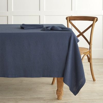 Italian Washed Linen Tablecloth 70 X 108 Navy Blue In 2019