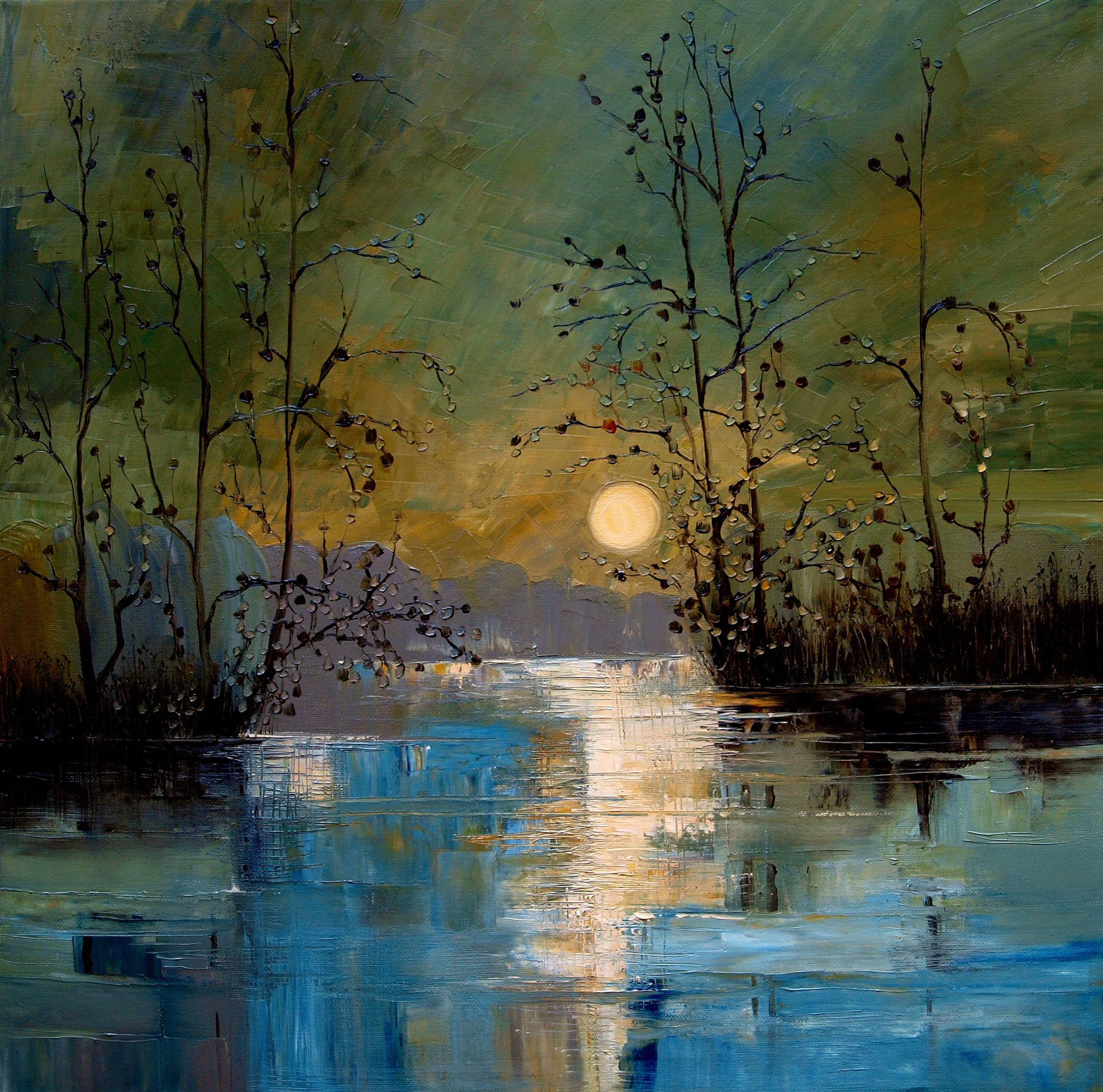 River By Justyna Kopania Moon River Night Autumn Landscapes Impressionism Abstract Painting Landscape Paintings Landscape Art