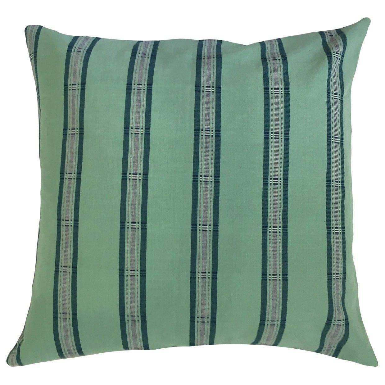Vaman striped floor pillow green size x cotton floor