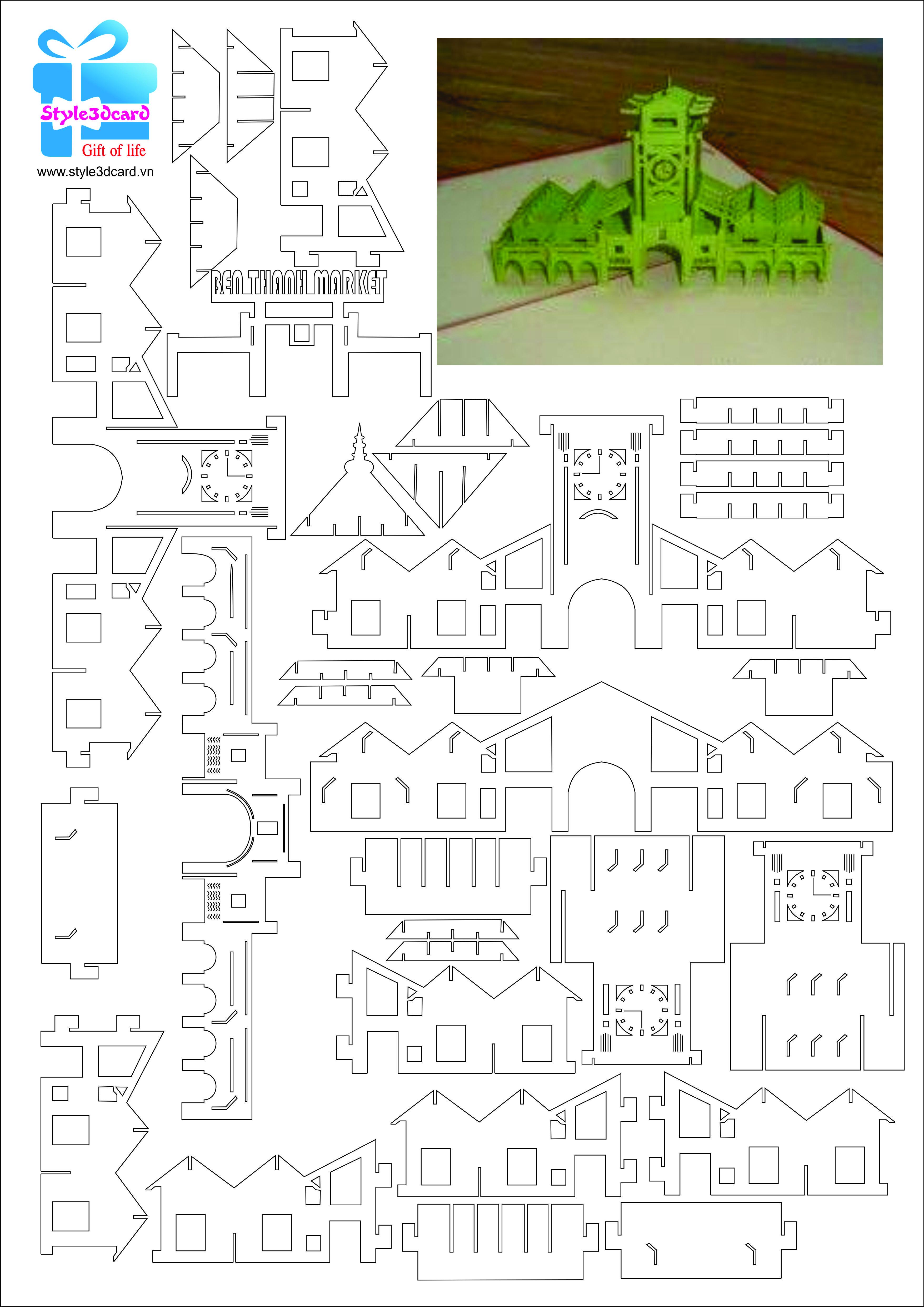 Ben Thanh Market 3d Pop Up Card Thiệp 3d Chợ Bến Thanh Pattern Pop Up Cards Paper Pop Kirigami Patterns