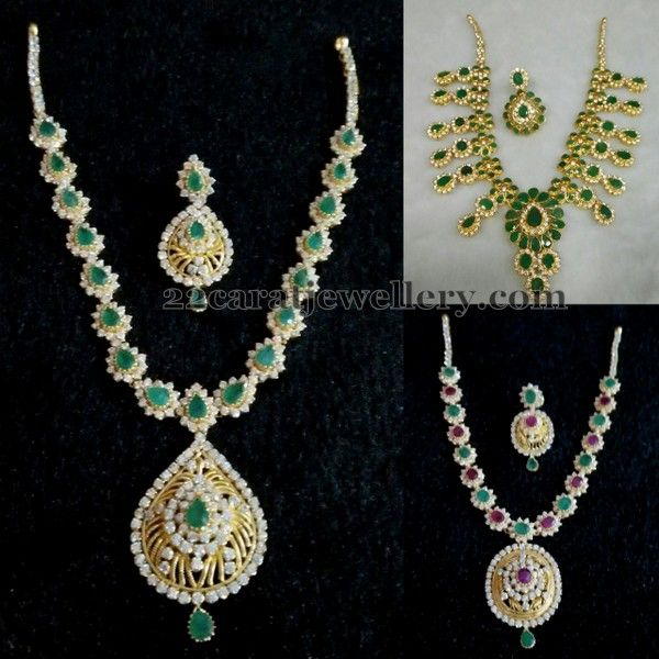c055d51aa38bf1 White and Green Stone CZ Necklaces | Indian Diamond Wedding ...