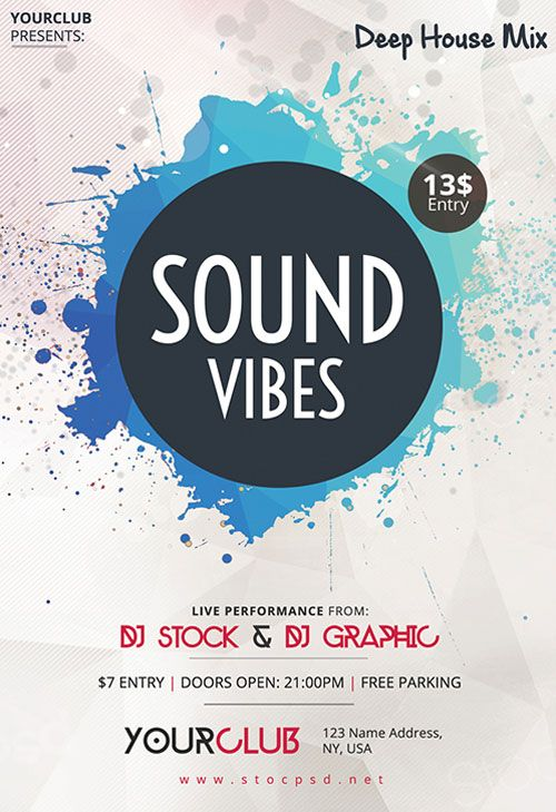 Sound Vibes Free Flyer Template - http\/\/freepsdflyer\/sound - electro flyer