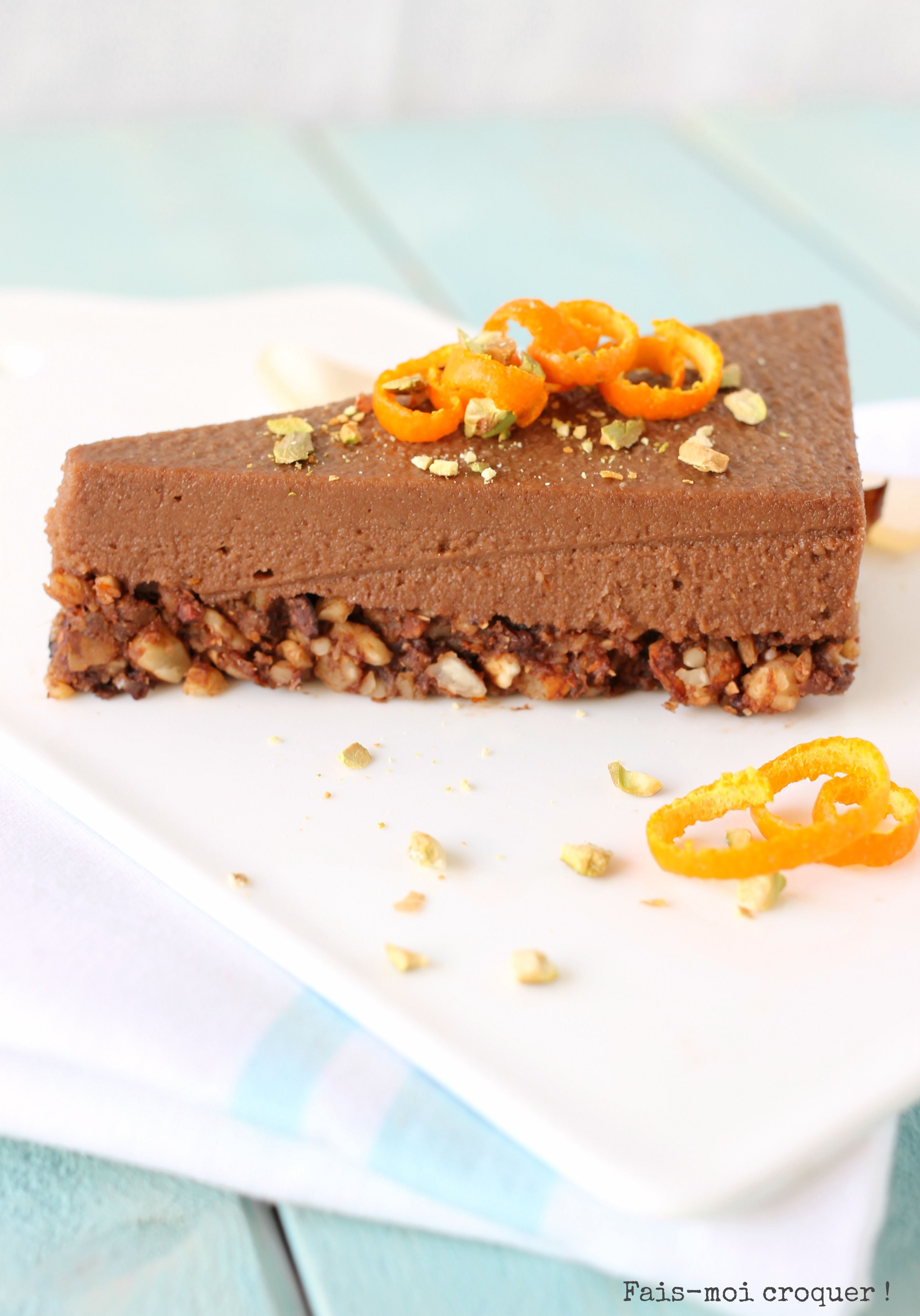 No Cheesecake Cru Chocolat Orange Vegan Raw Food Fais Moi Croquer Recette Gateau Cru Chocolat Orange Chocolat Brut