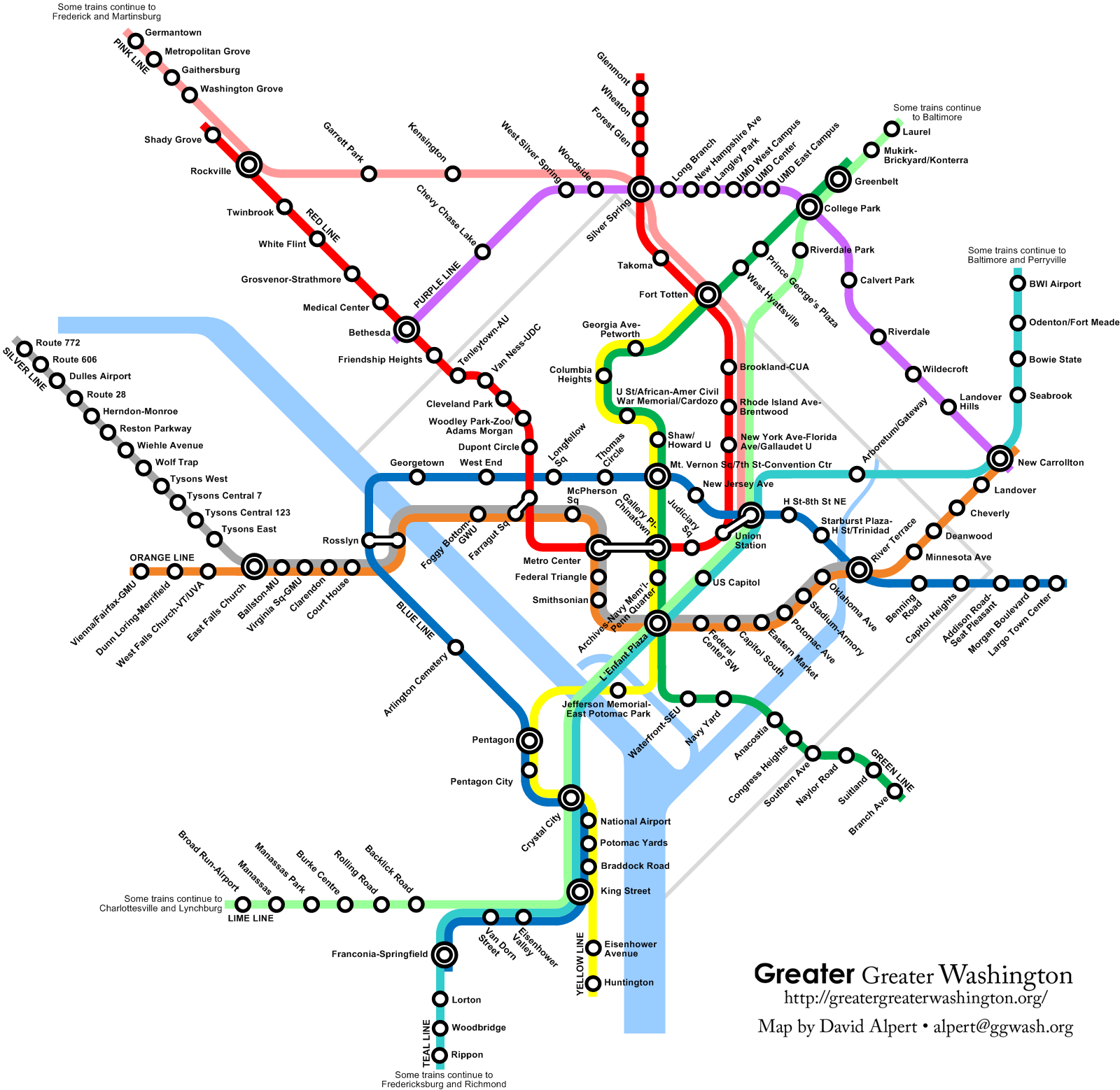 Washington DC WMATA Metro Express Concept Map Unofficial - Washington dc map airports