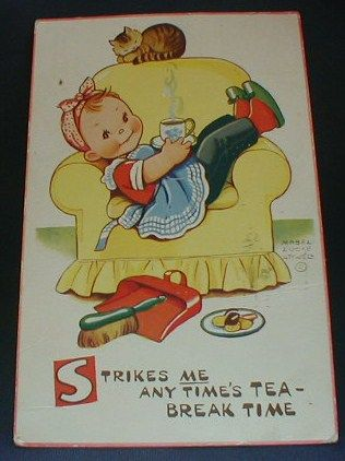 'Tea Break Time' by Mabel Lucie Attwell (1879 –1964) a British illustrator known for her cute, nostalgic drawings of children.