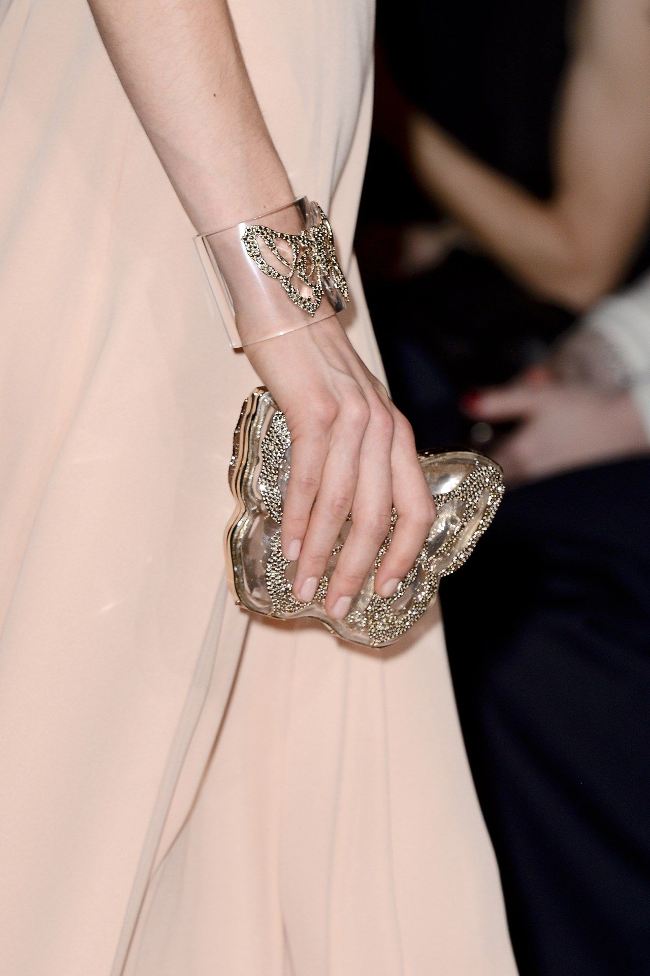 Valentino embelleshed butterfly clutch and matching cuff bracelet