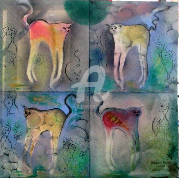 Le domaine des chats (Peinture), 60x60 cm par Dominique BERTRAND