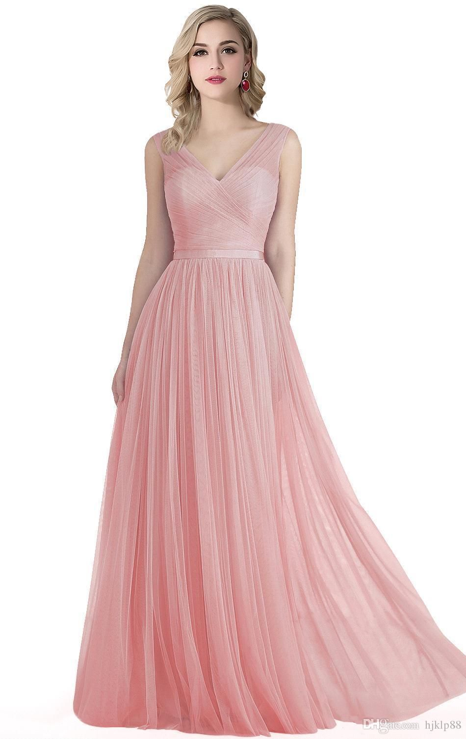 new blush pink flowing a line tulle bridesmaid dresses