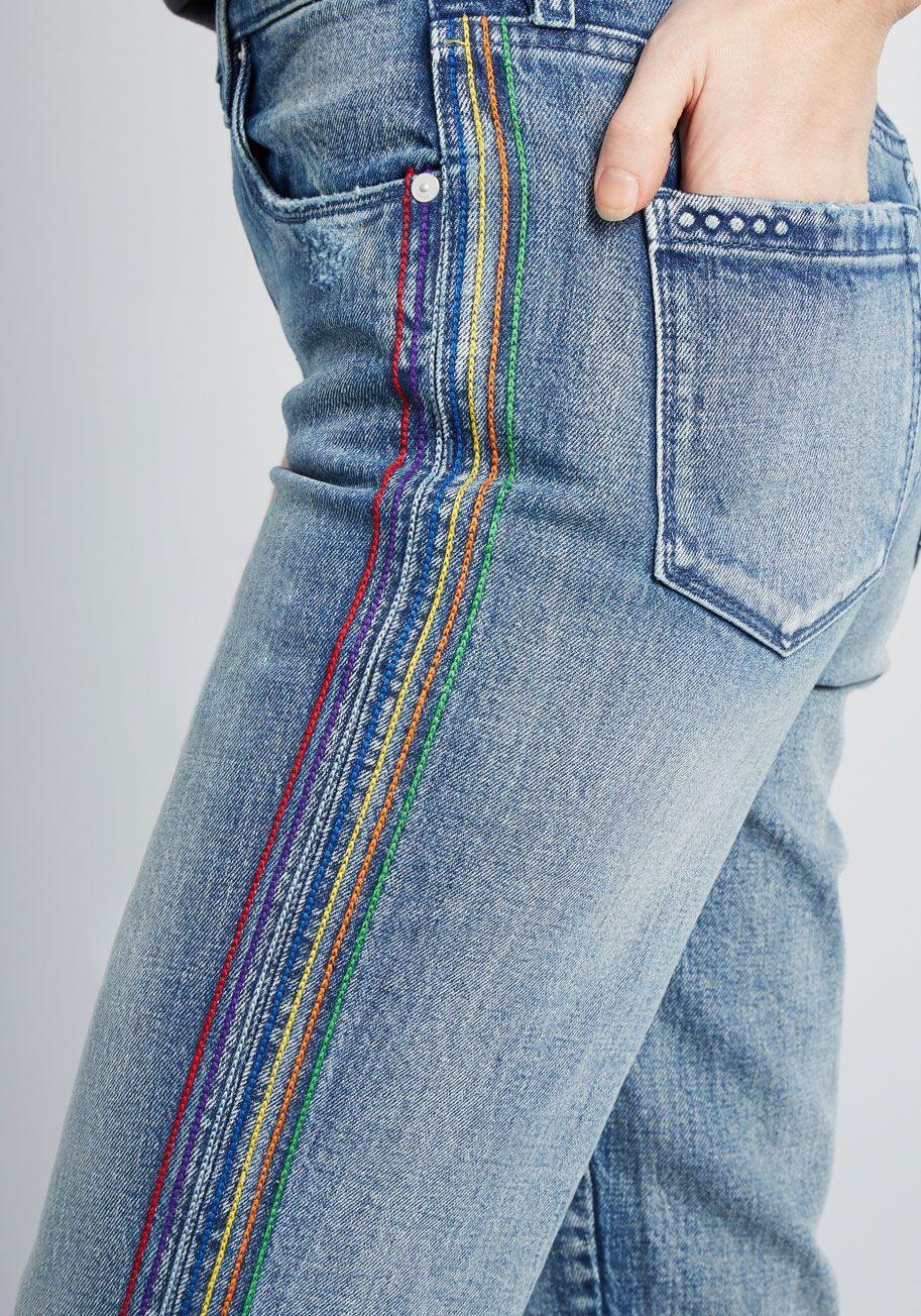 In the Stitches Embroidered Jeans