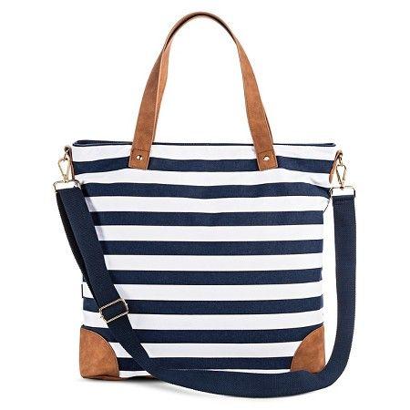 f68f65d3365d Women s Stripe Print Canvas Tote Handbag with Tan Trim and Removable  Crossbody Strap - Merona™