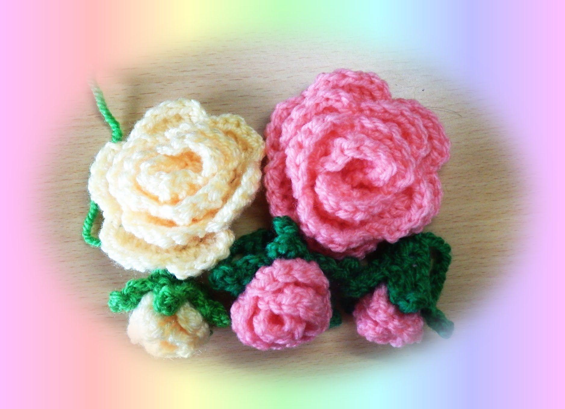 かぎ編みのバラ 1-1(簡単な巻きバラの編み方)How to crochet rose ...