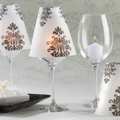 Love These Just Need Wine Glasses From The Dollar Tree And Some Candles Great Centerpiece Idea Vellum Candle Wine Glass Candle Damask Pattern