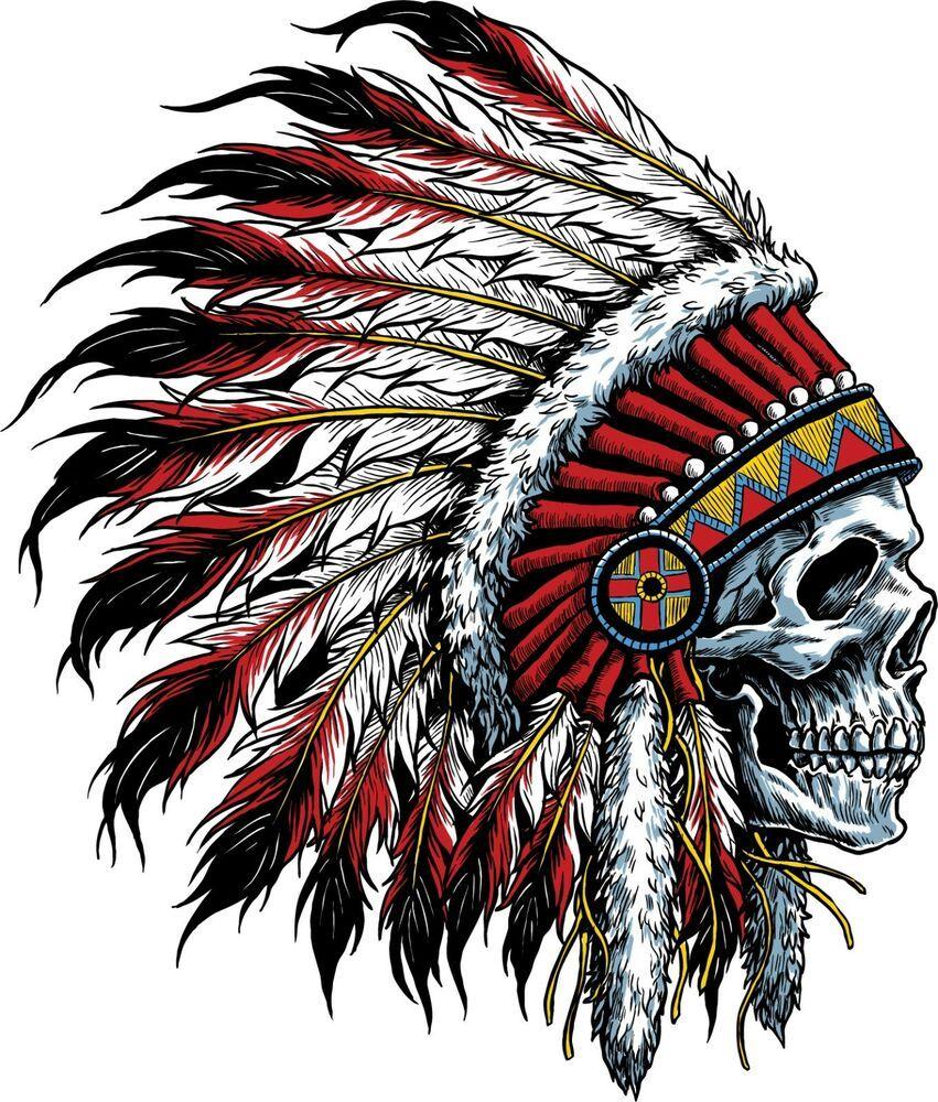 Native Indian Skull Skeleton Headdress Car Truck Window Vinyl Decal Sticker