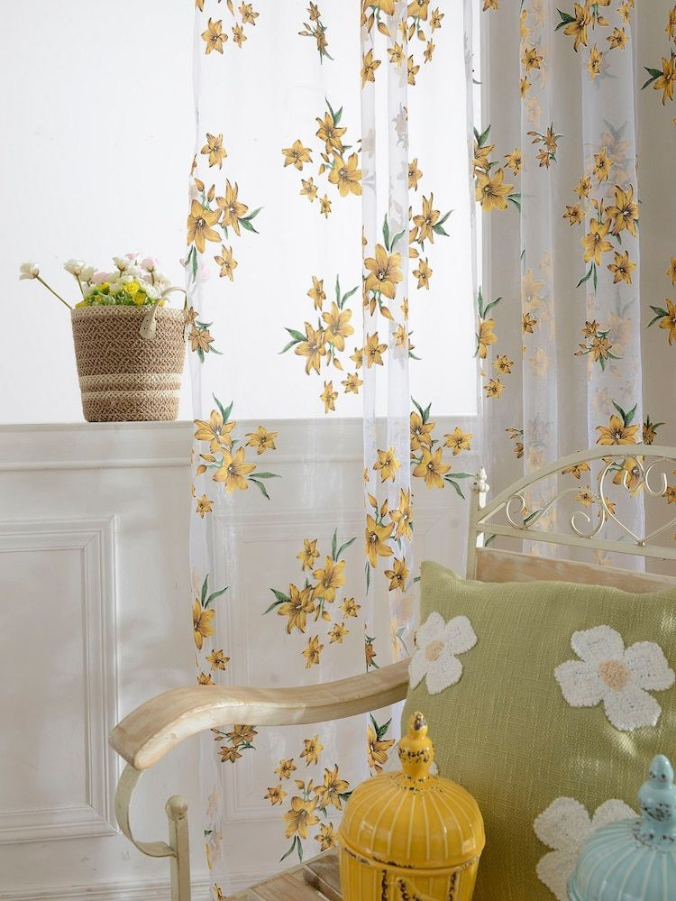 Flower Print Rod Pocket Sheer Curtain 1pc SHEIN USA
