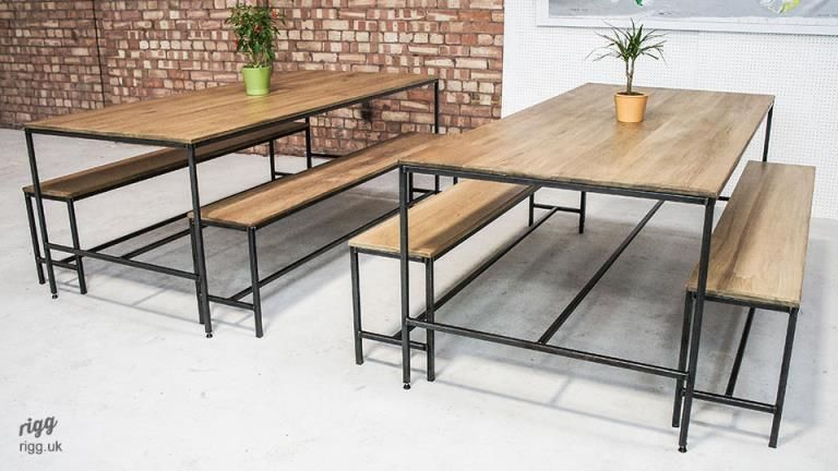 Industrial Dining Table Bench Set Dining Table Chairs Dining