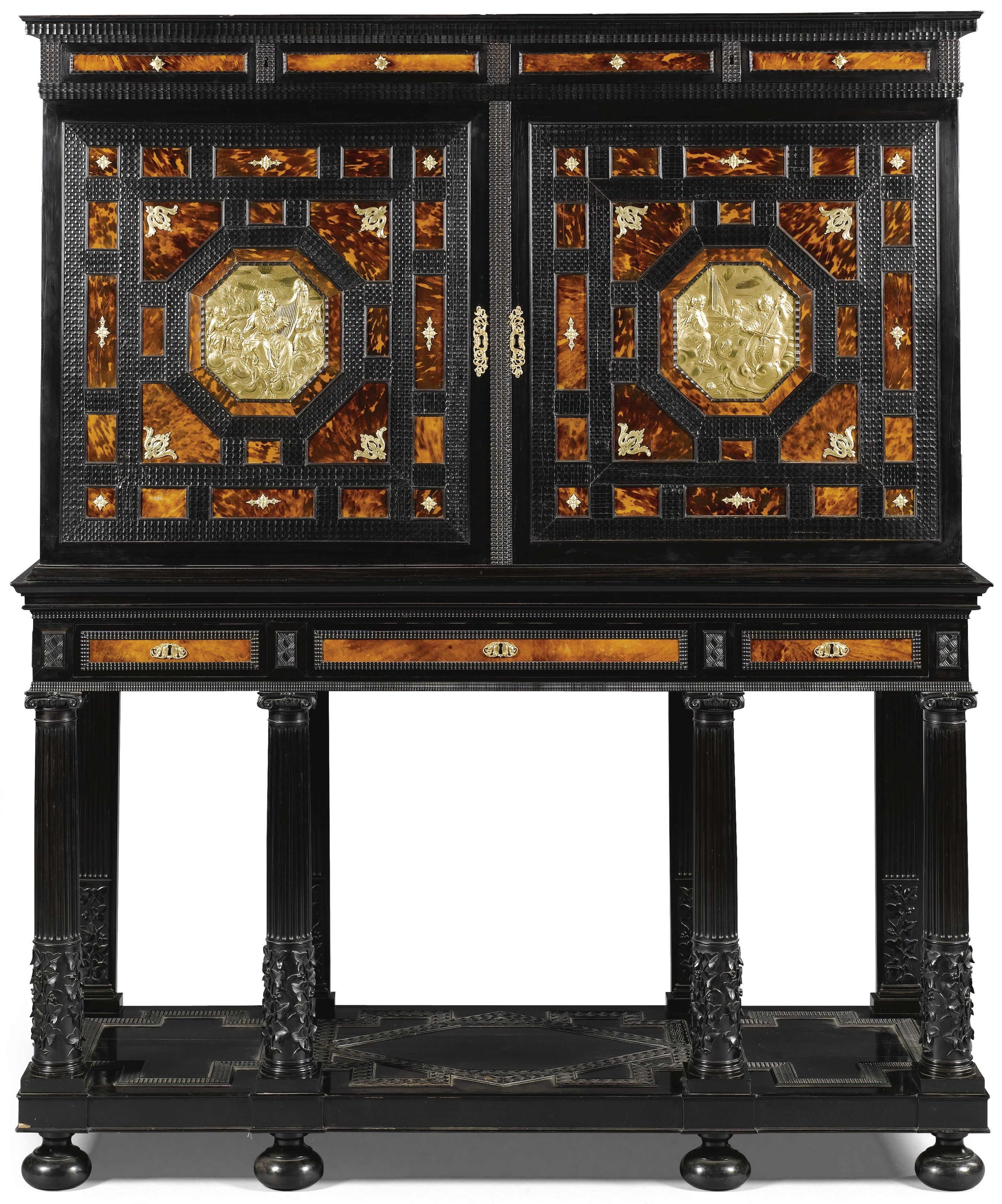 A Flemish Gilt Bronze Mounted Tortoiseshell And Ivory Inlaid Parquetry Ebony And Ebonised Cabinet On Stand Antwer Parquetry Cabinet Cupboard Baroque Furniture