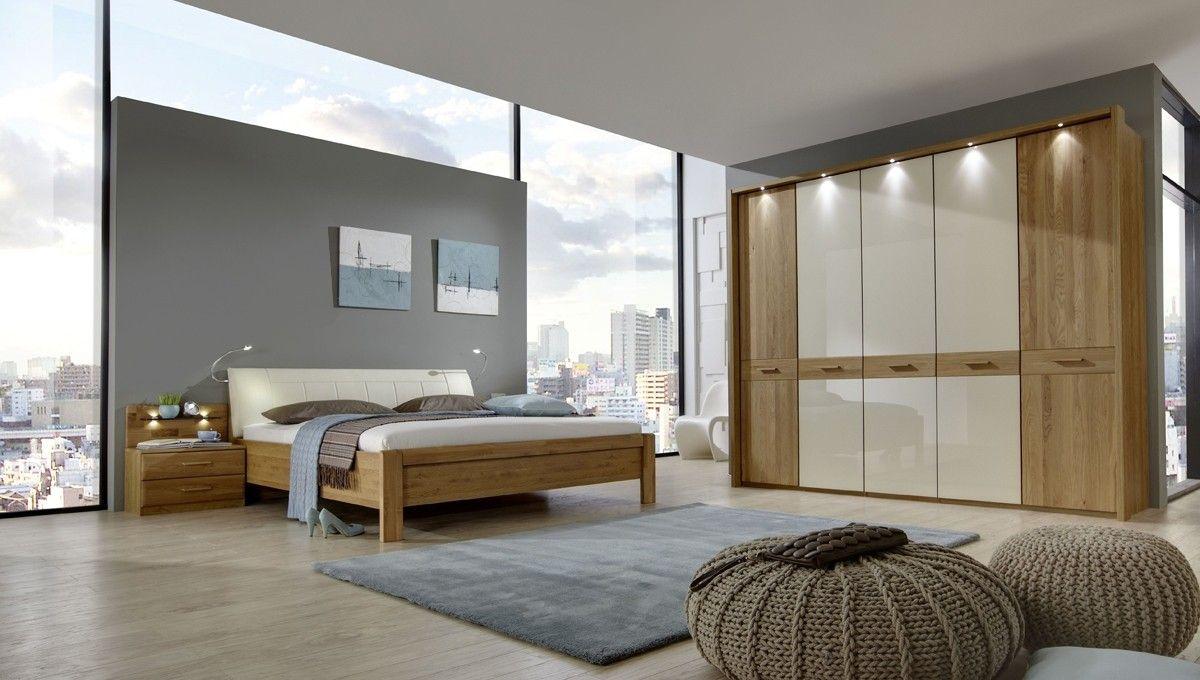Schlafzimmer komplett Wiemann Toledeo Eiche Teilmassiv Magnolie 5764 ...