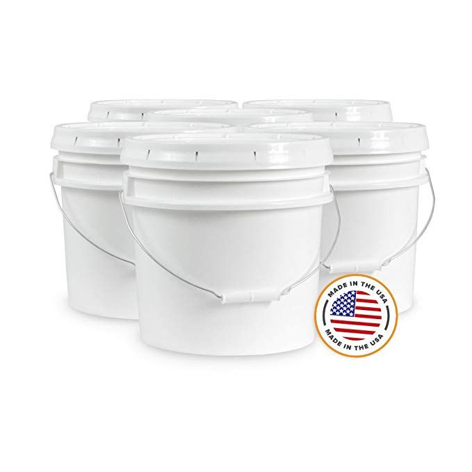 Ropak Usa 3 5 Gallon Food Grade White Plastic Bucket With Handle Food Grade Buckets