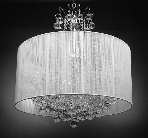 """SILVER EMPIRE CRYSTAL CHANDELIER WITH LARGE SHADE H 30"""" X W 33"""" - 9 LIGHTS Gallery http://www.amazon.co.uk/dp/B00GO5N4WQ/ref=cm_sw_r_pi_dp_Y4ytub0TJS1SG"""