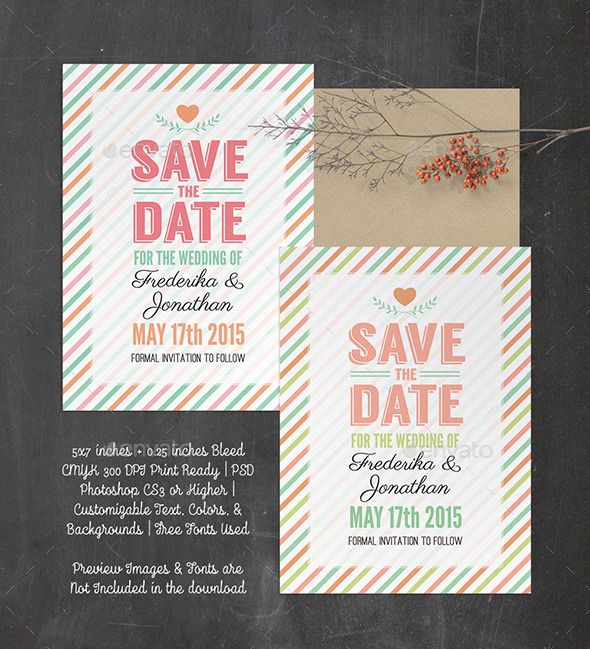Stripes save the date psd template photoshop psd wedding stripes save the date psd template photoshop psd wedding stationery card template maxwellsz
