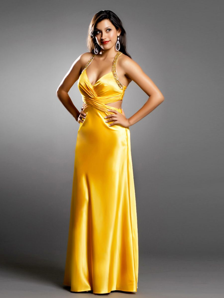 Plunging Halter Neck Yellow Satin Mother of Bride Dress | Discount ...