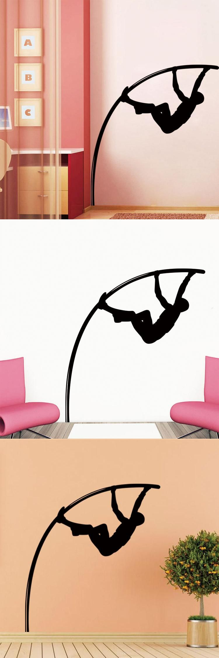 Hot Athlete Pole Vault Remove Waterproof Wall Stickers Living Room ...