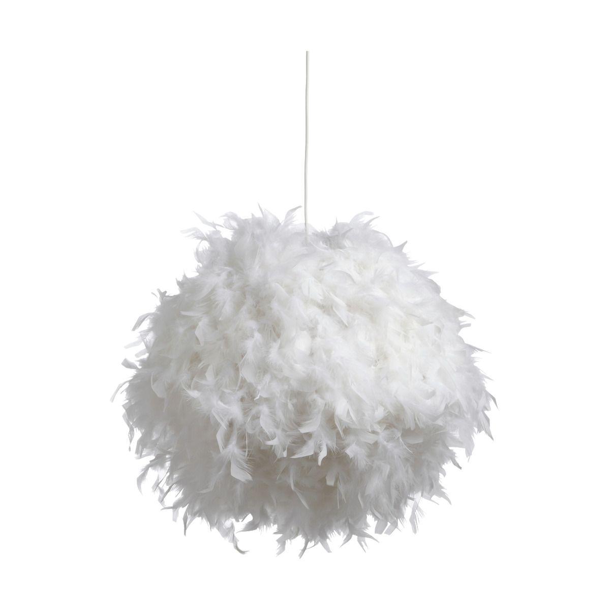 Boule De Plume A Suspendre suspension en plume blanche d50cm - alinéa   plume blanche