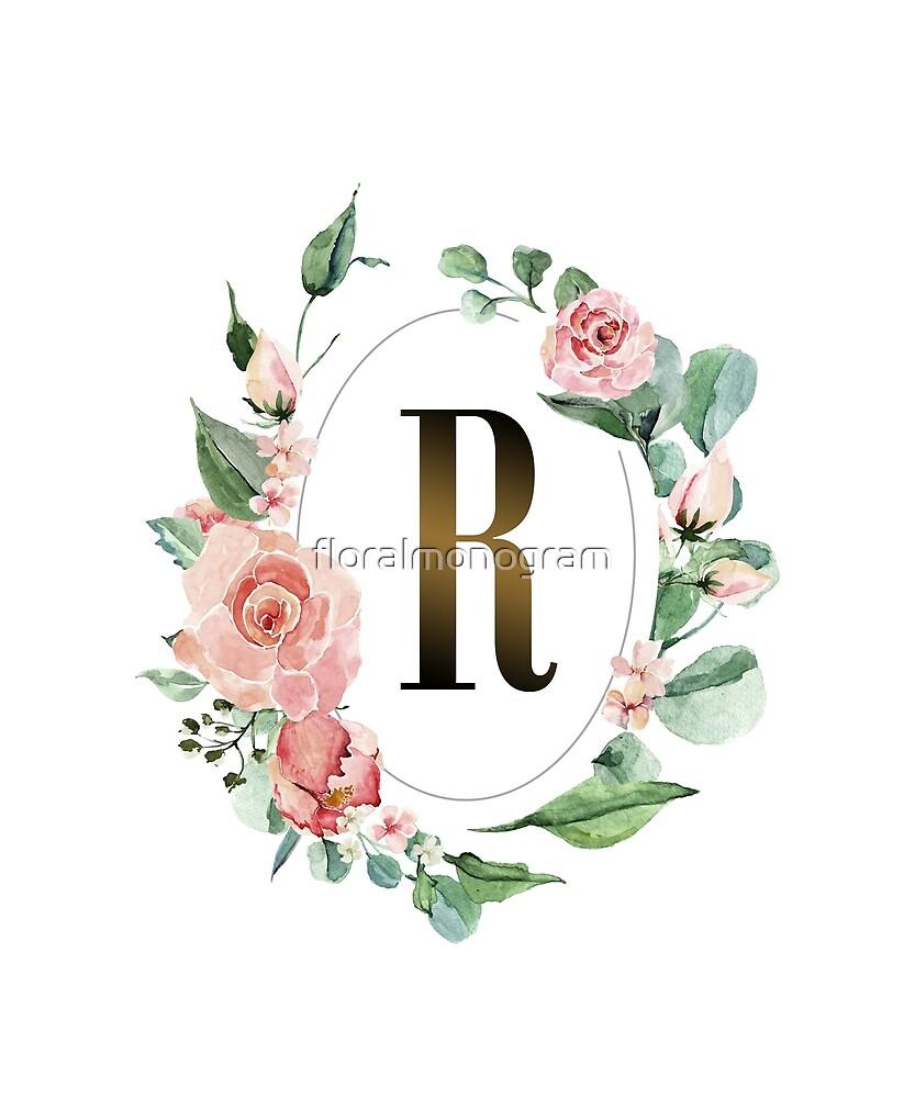 Monogram R Oval Pink Roses By Floralmonogram Redbubble In 2020 Pink Roses Floral Monogram Monogram