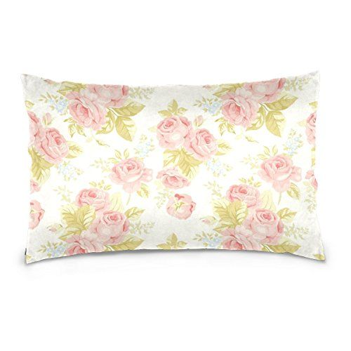 Alaza Shabby Chic Vintage Pink Floral Cushion Pillowcaserectangle Throw Pillow Case Decorative Cushio Floral Cushions Decorative Cushion Covers Silk Pillowcase