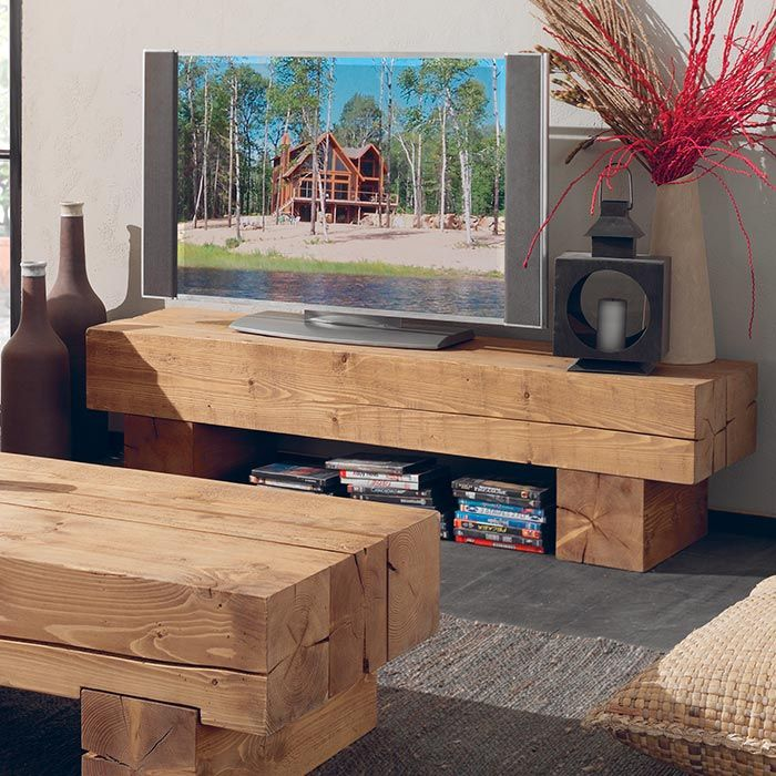 Meuble TV POUTRE en pin massif Meuble Tv Pinterest