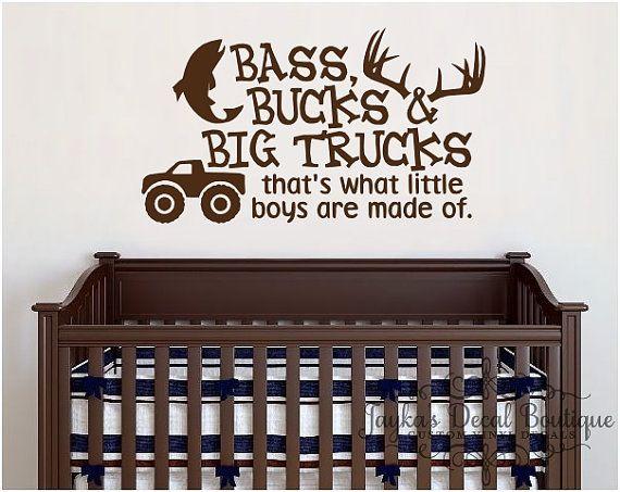 Bass Bucks And Big Trucks Thats What Little By Jaykasdecalboutique Wall Decals Big Trucks Little Boys